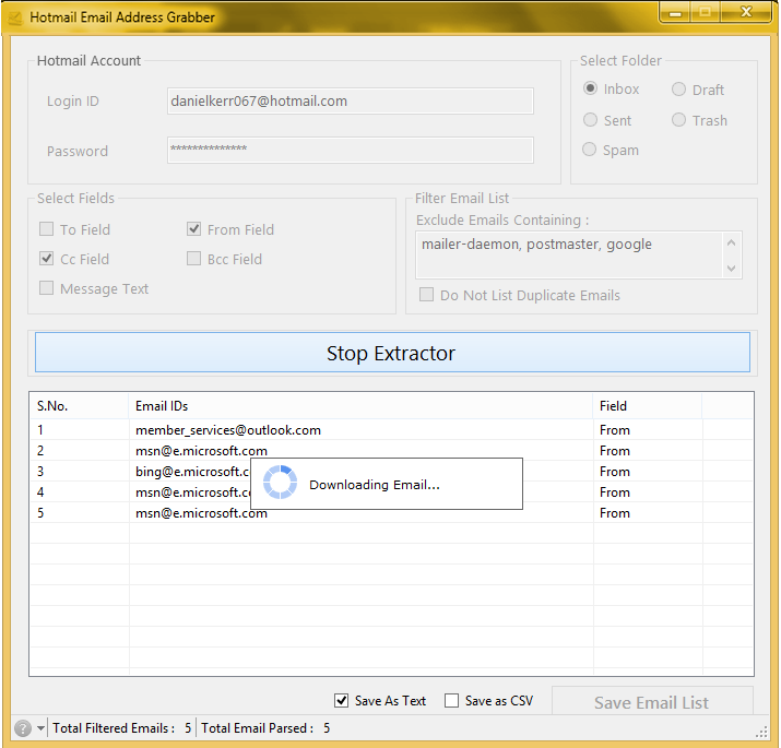 Hotmail Email Address Grabber 2.5.0.11