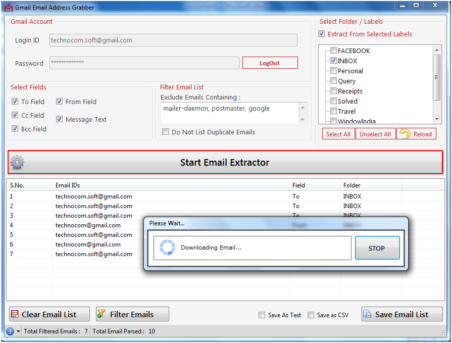 Gmail Email Address Grabber 2.5.0.22