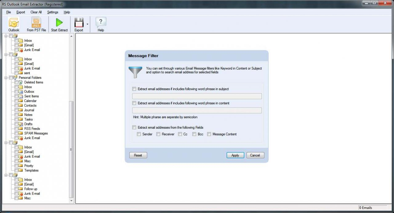 RS Outlook Email Extractor 3.1