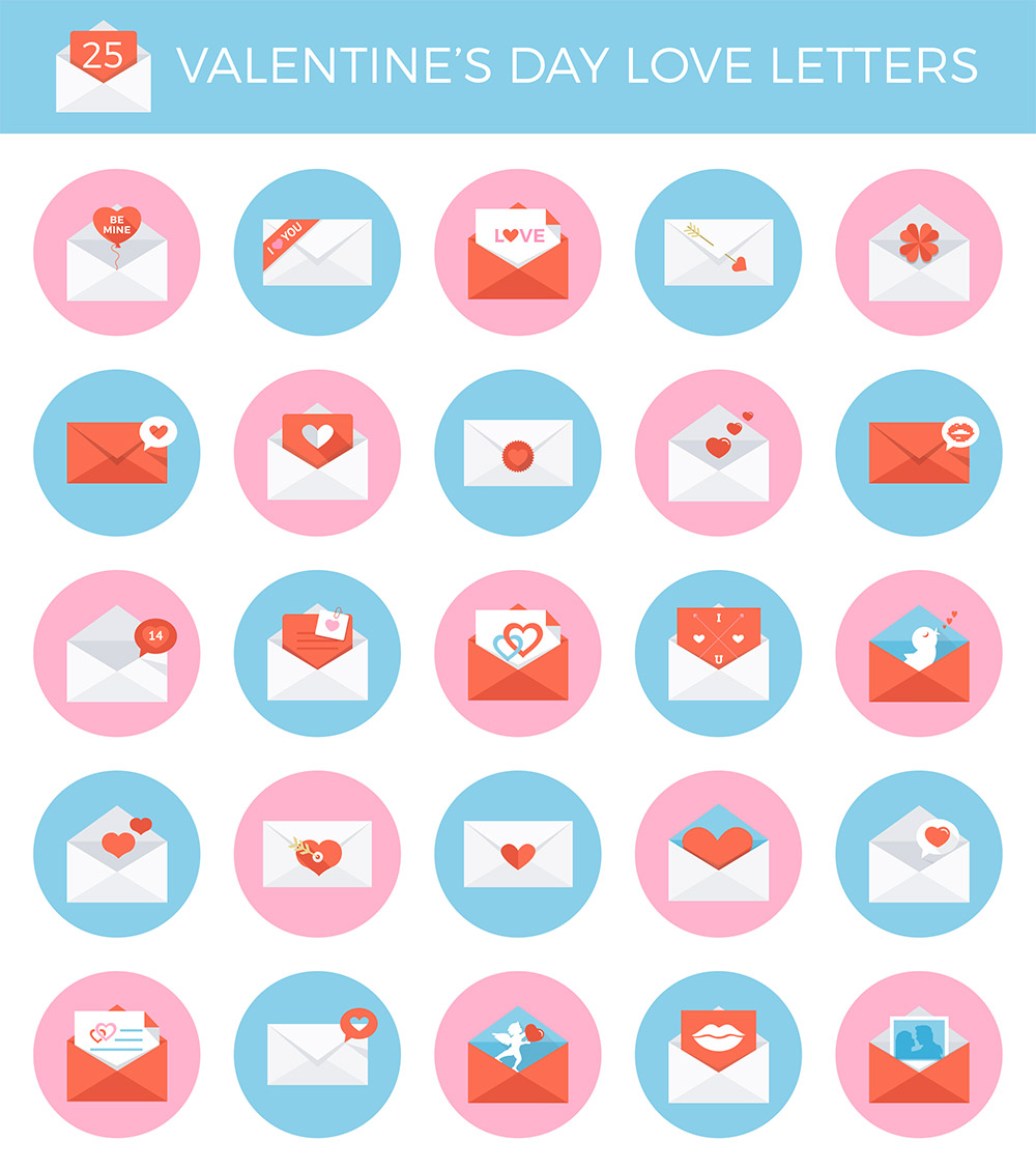 25 Valentines Day Envelope Icon Set Free PSD