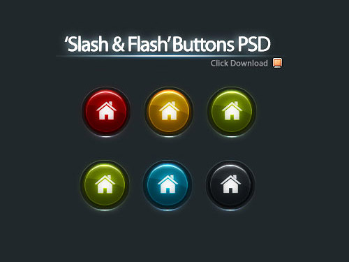 5 Color Buttons PSD L