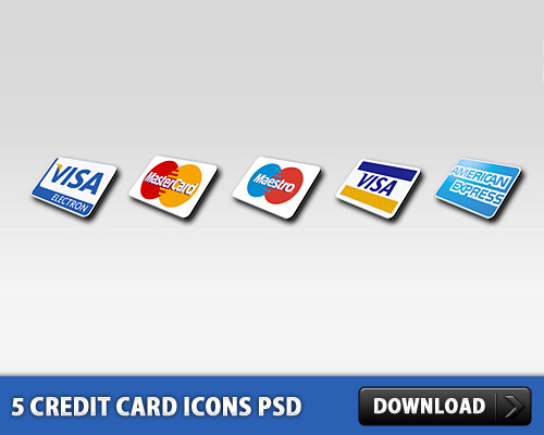 5 Credit Card Icons PSD L