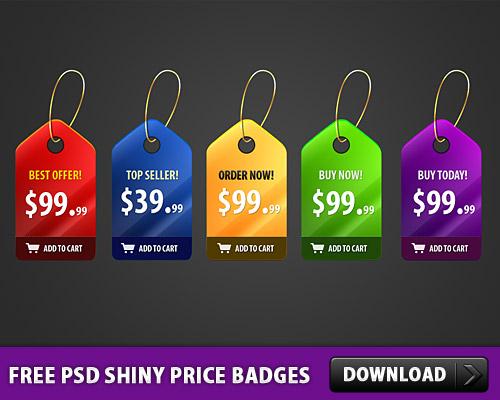 5 Free PSD Shiny Price Badges L
