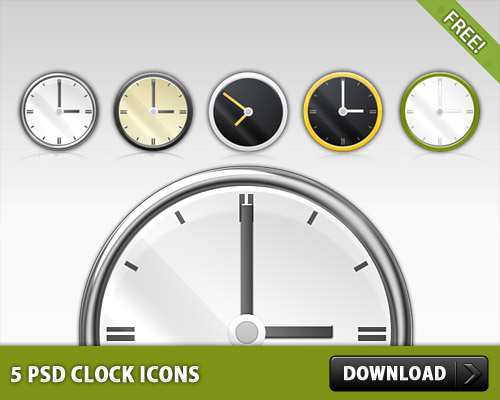 5 PSD Clock Icons L