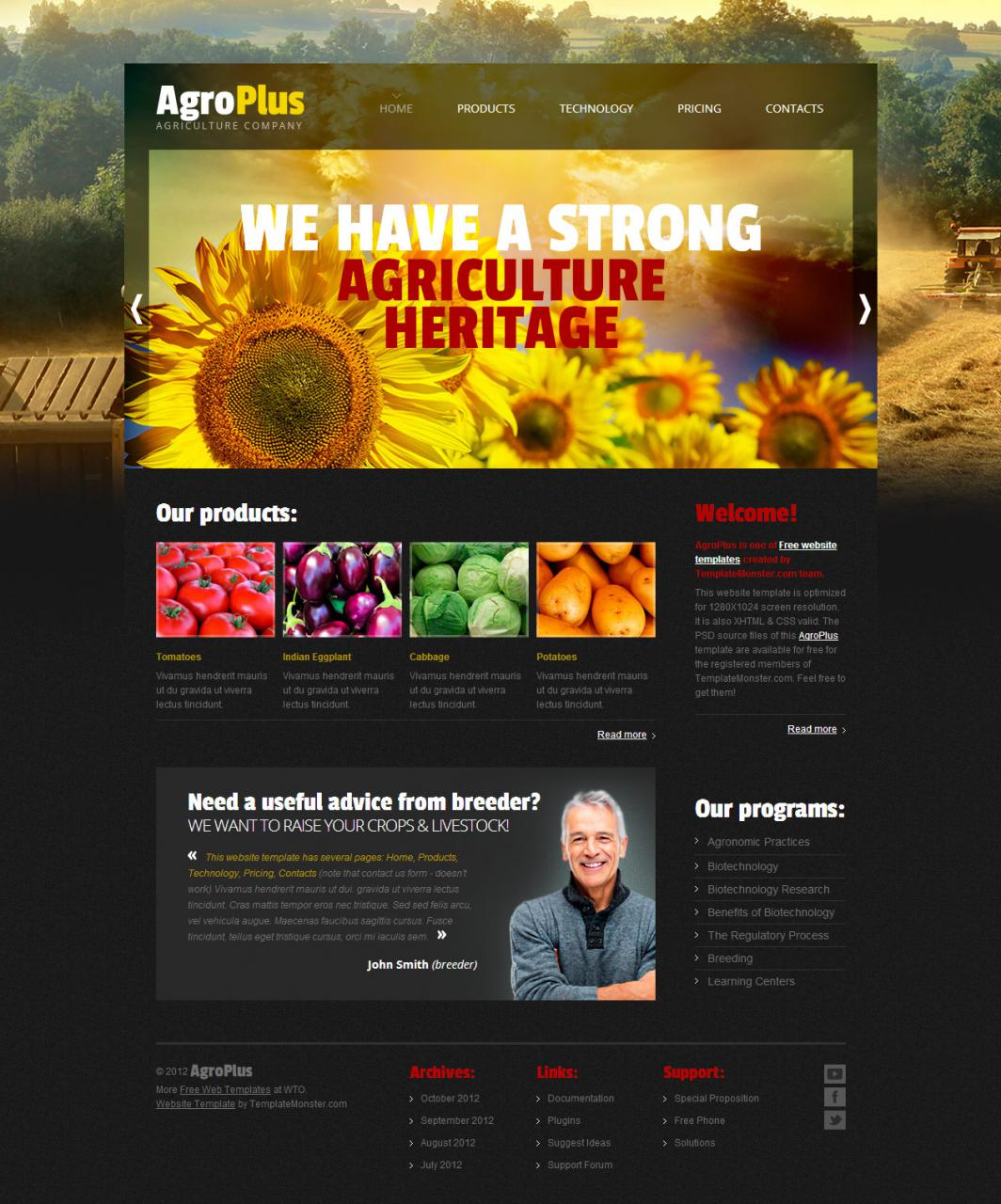 Agro Plus Agriculture Website Template With Free PSD