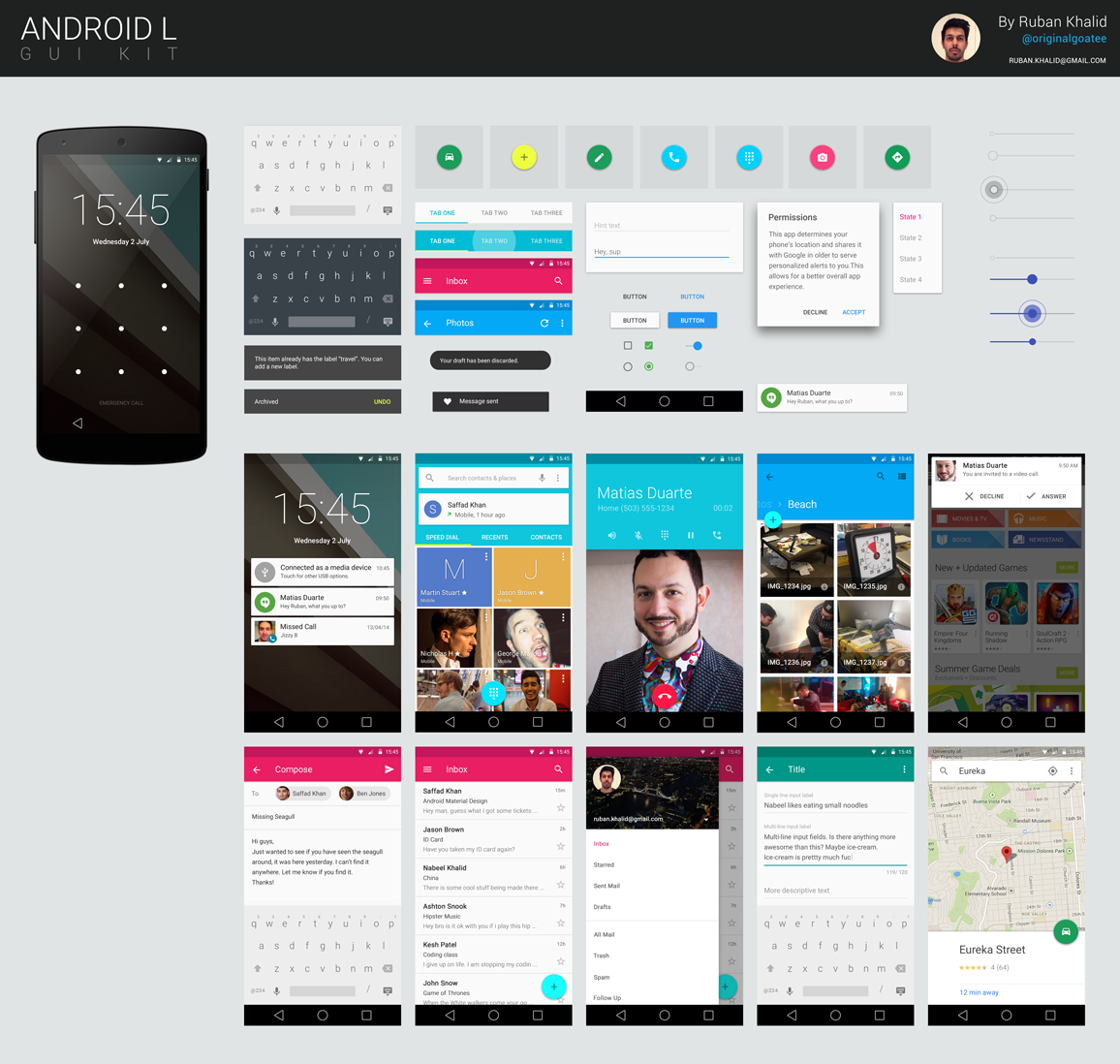Android Lollipop GUI Kit PSD