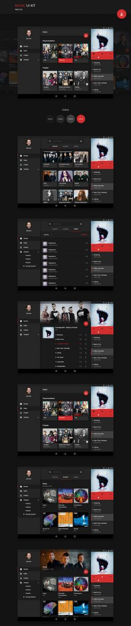 Android Music Player Application UI Kit Free PSD
