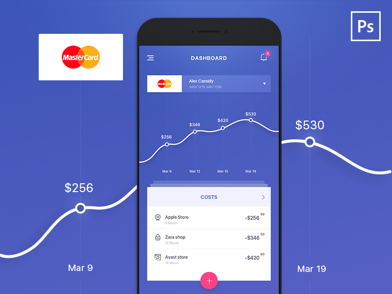 Bank Statistic App Dashboard Free PSD
