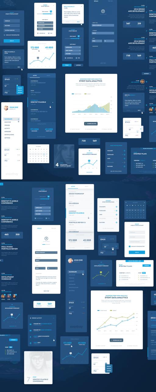 Blue Flat GUI Kit PSD Free Download