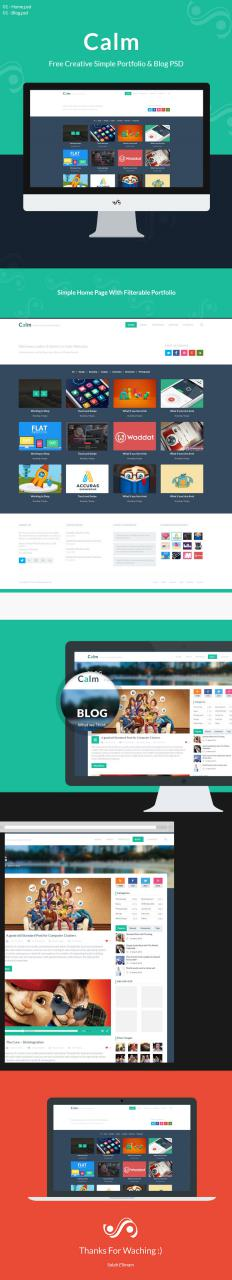 Calm Free Creative Simple Portfolio Blog PSD