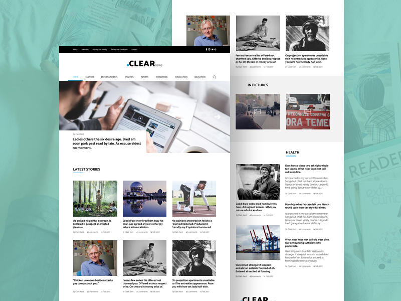 Clean Blog And Magazine Website Template PSD