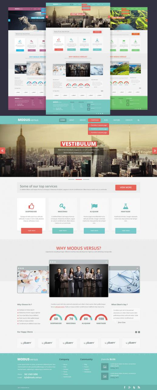 Clean Flat Full Website Free PSD Template
