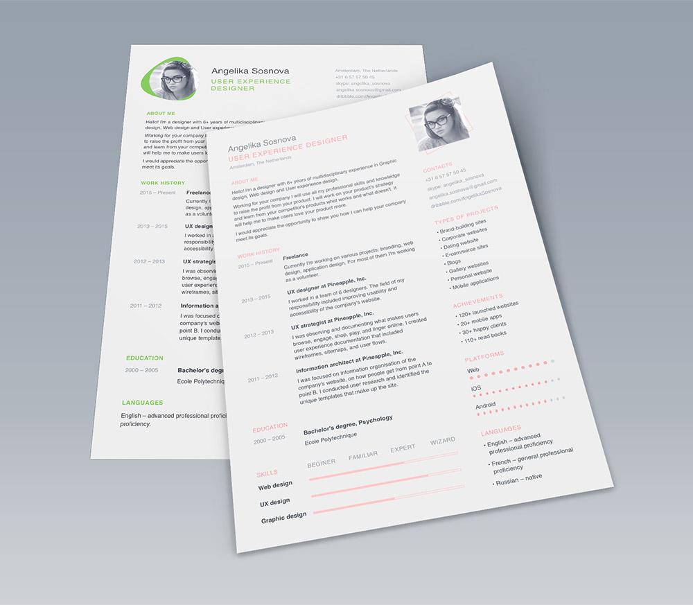 Clean UI Designer Resume Template Free PSD