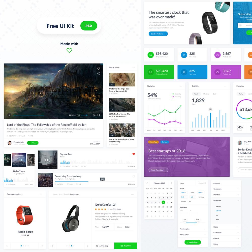Clean Web UI Kit Free PSD