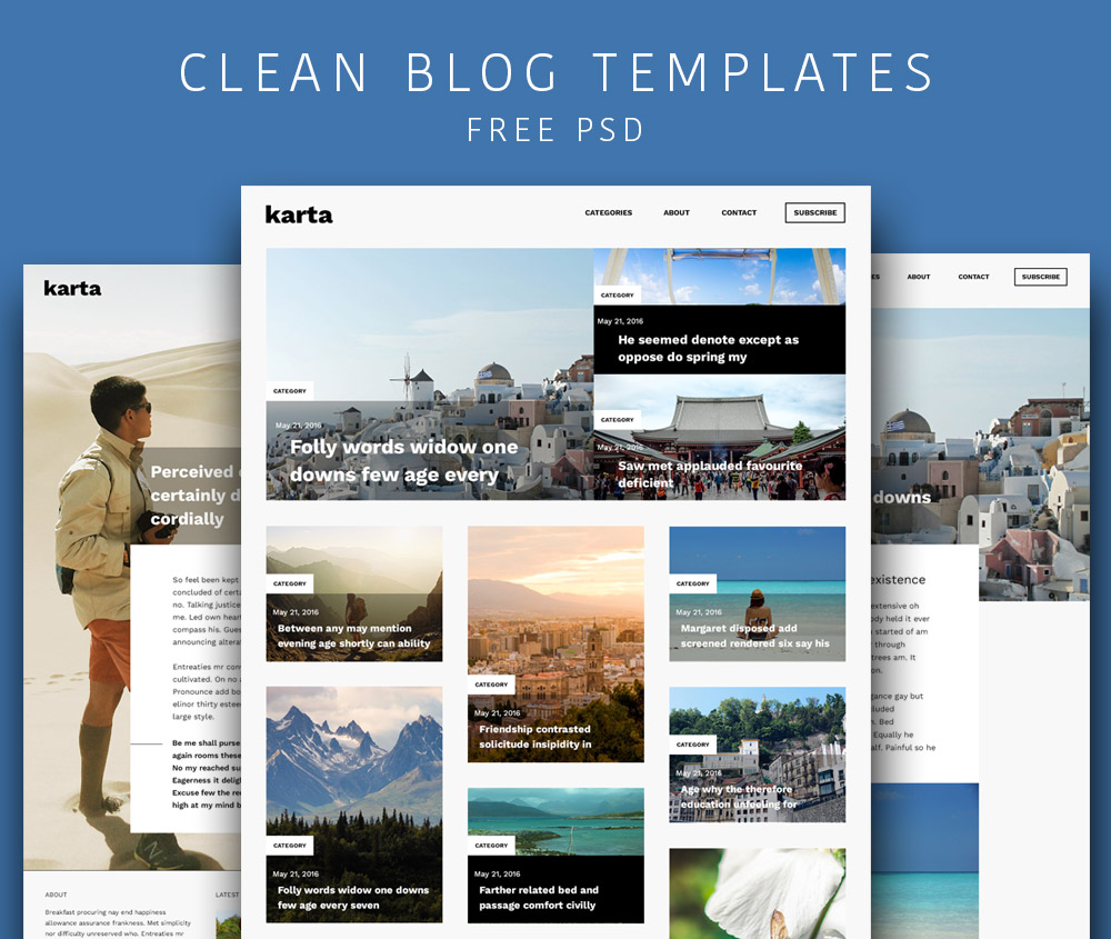 Clean And Simple Blog Templates Free PSD