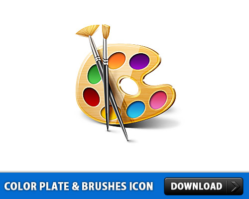 Color Plate And Brushes Icon L