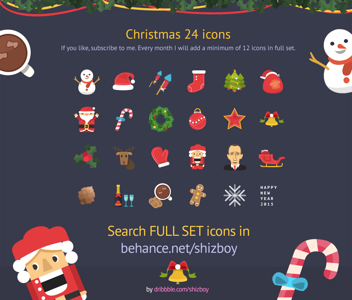 Colorful Christmas Free Flat PSD Icons Set