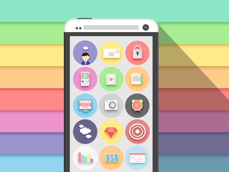 Colorful Flat Icon Set PSD