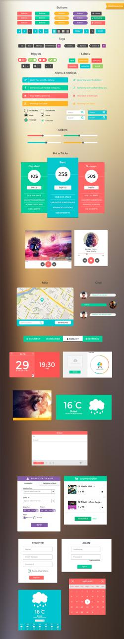 Colorful Smooth Free UI Kit PSD