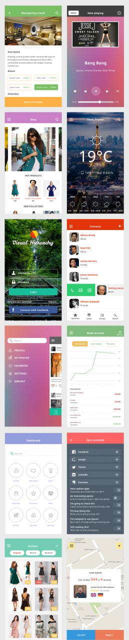 Colorful IOS 8 Mobile UI Kit Free PSD