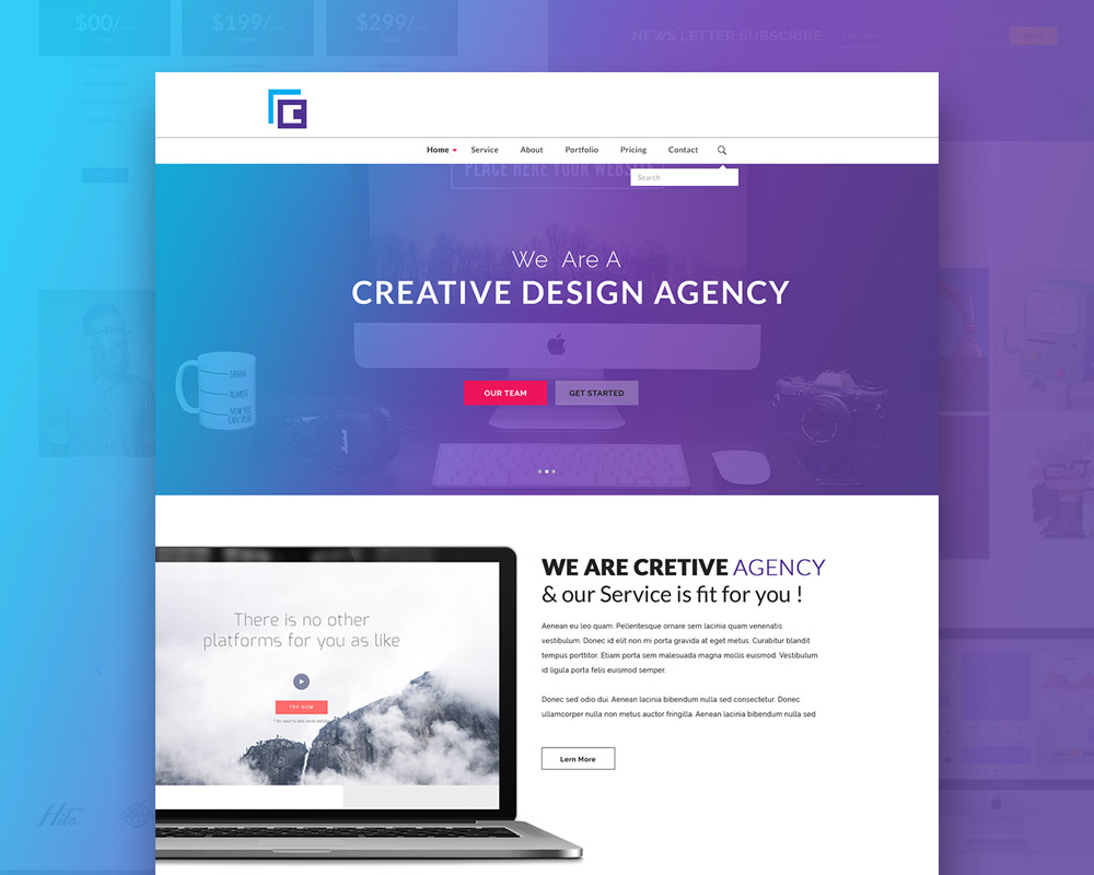 creative agency website template free psd - Free Website Templates