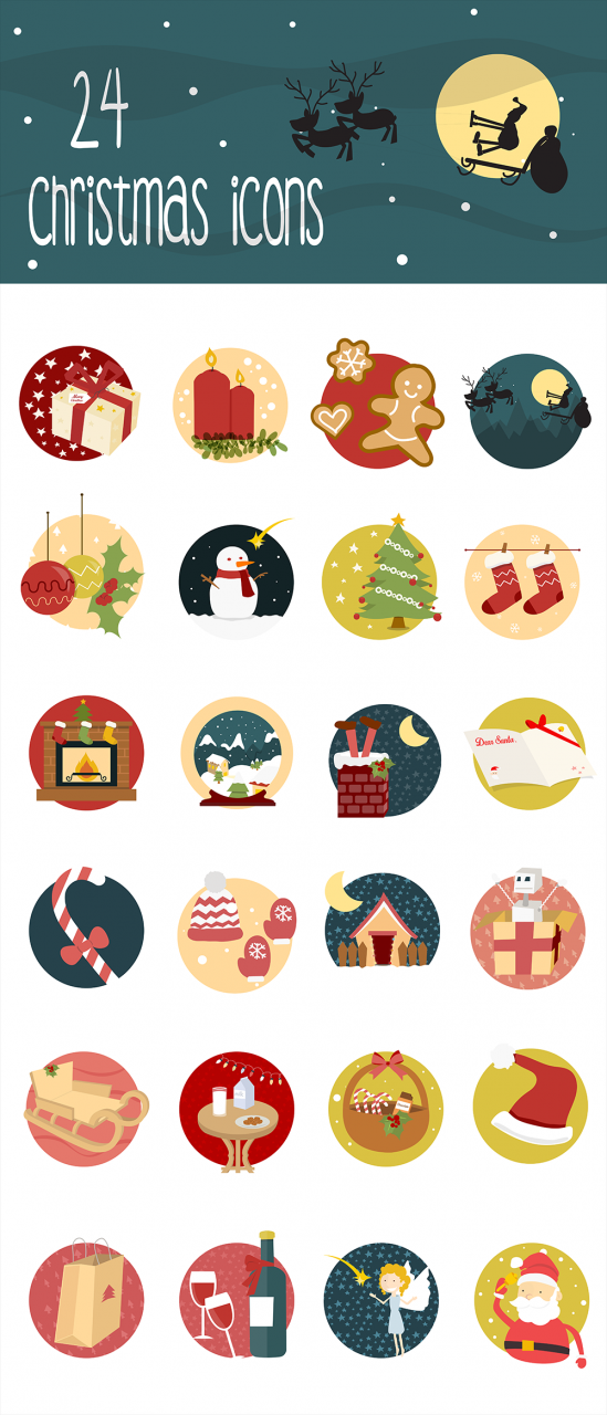 Creative Christmas Icons Set Freebie PSD