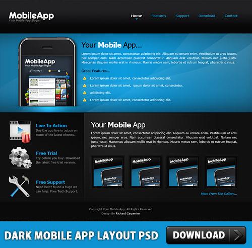Dark Mobile App Layout PSD L