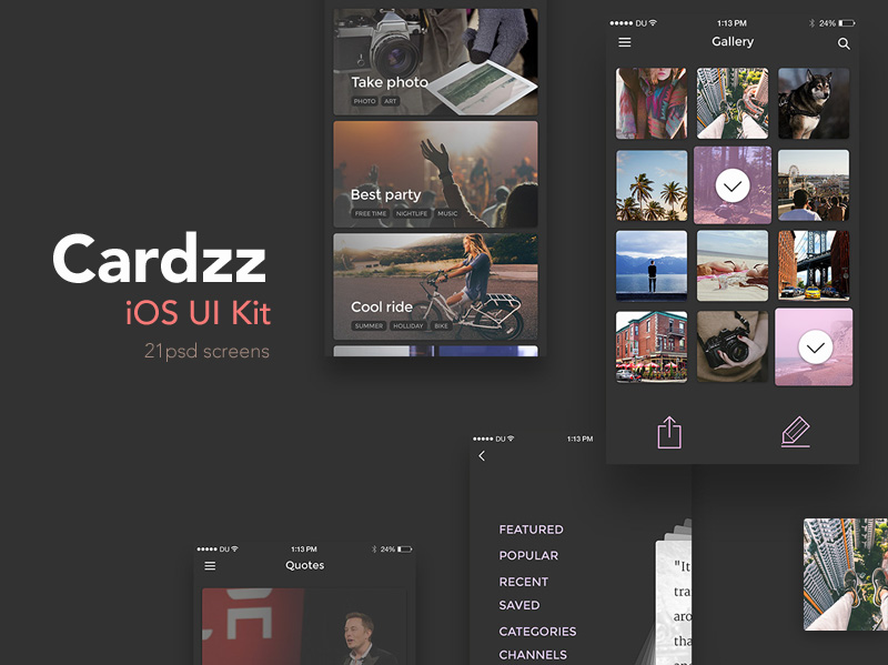 Dark IOS UI Kit Free PSD