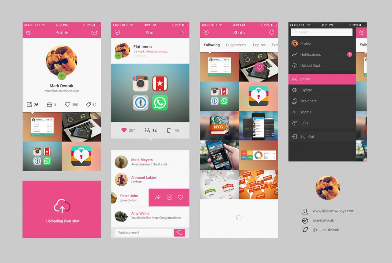 Dribbble App Concept PSD File