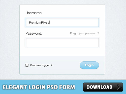 Elegant Login PSD Form Design L
