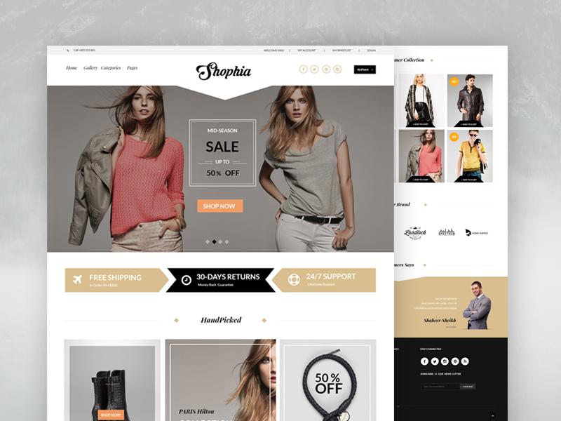 Elegant ECommerce Website Template Free PSD