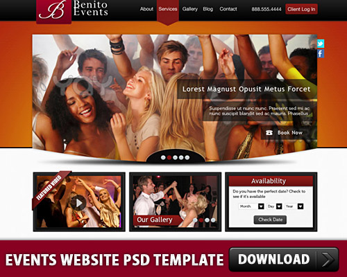 Events Website PSD Template L