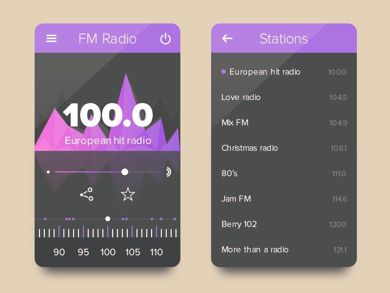 FM Radio Station Widget UI Free PSD