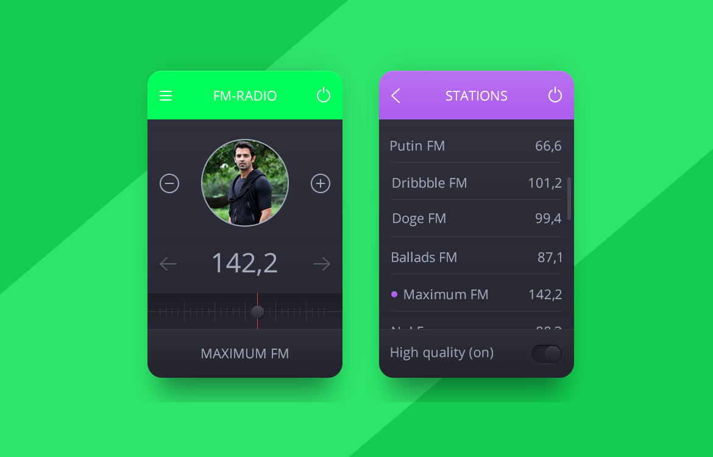 FM-Radio UI Kit Free PSD