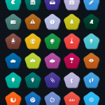 Flat Colorful Pentagon Icons Set PSD