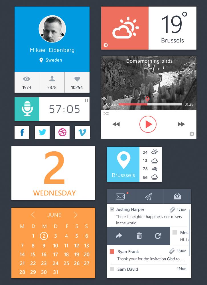 Flat Metro UI Elements Kit PSD