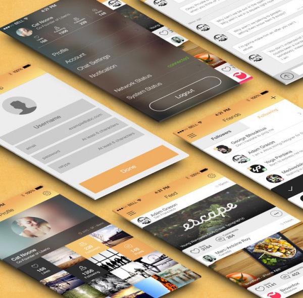 Flat Mobile App UI Kit Free PSD Thumb