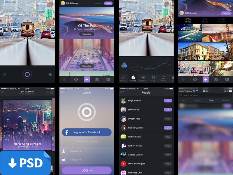 Flat Style IOS Photo App UI PSD
