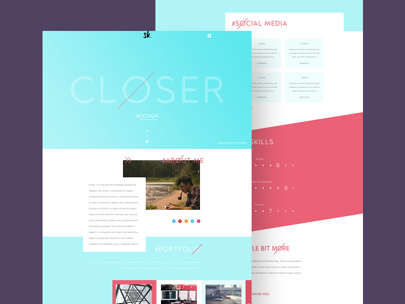 Flat And Minimalistic Portfolio Web Template Psd