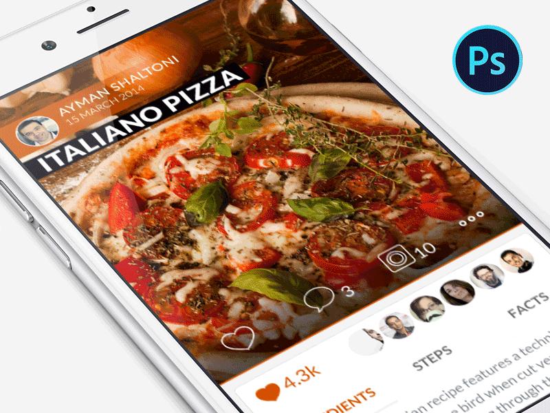 Food Recipe Mobile Application PSD Freebie