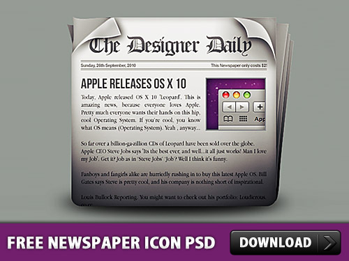 Free Newspaper Icon PSD L
