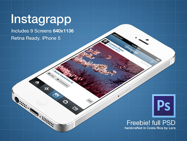 Instagrapp App Screens Freebie PSD File