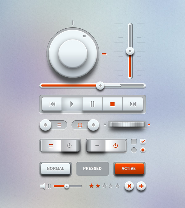 Light Music Player UI Design Kit PSD