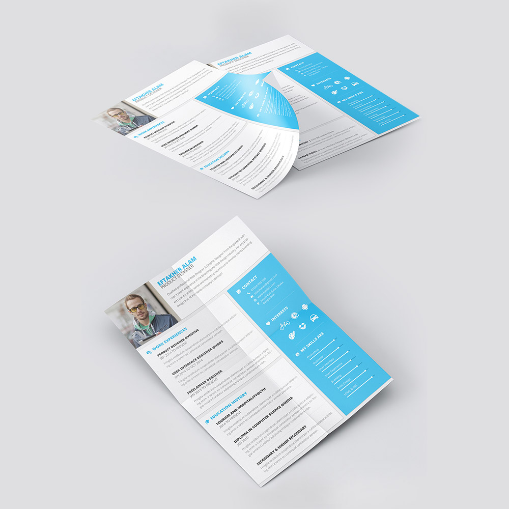 Material Style Professional Resume Template Free PSD