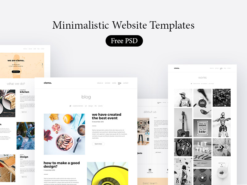 Minimalistic Website Templates Free PSD