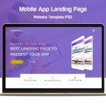 Mobile App Landing Page Website Template PSD