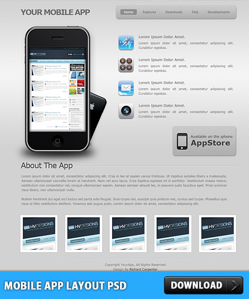 Mobile App Layout PSD L