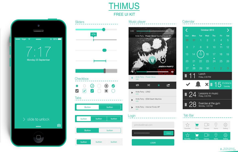 Mobile Flat UI Kit Free PSD