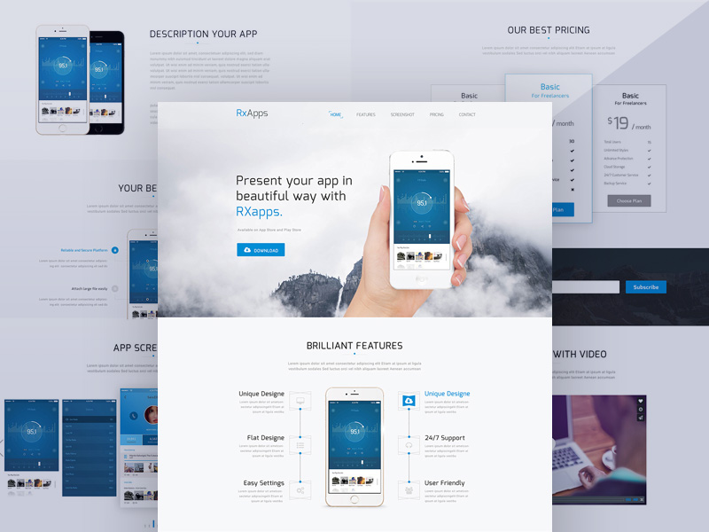 Modern App Landing Page Template Free PSD – Free Cracked Nulled Seo ...