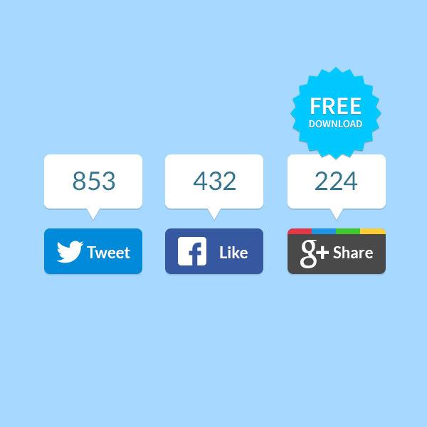 Modern Flat Social Networking Share Buttons Set